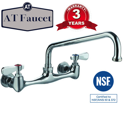 "AT Faucet Commercial Kitchen 8"" Center Wall-Mount Faucet with 10"" Spout"