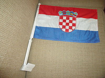 "2  Sided Croatia CAR FLAG 18""x 12"" New"