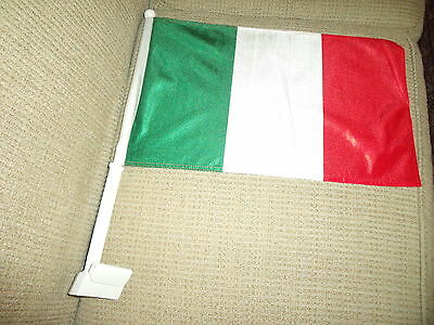 "2  Sided Italy CAR FLAG 18""x 12"" New"