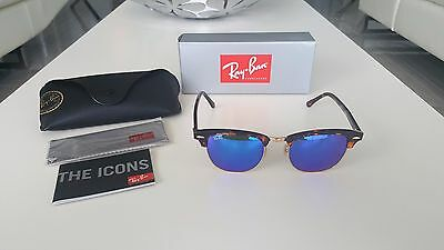 Ray-Ban RB3016 Clubmaster Classic 1145/17 Havana Frame Blue Mirrored Lenses 51mm