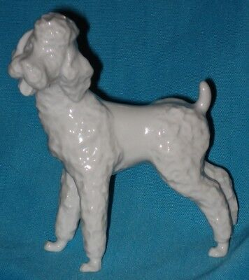 Very Nice! Vintage Porcelain WHITE POODLE DOG Figurine