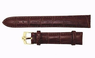 18Mm Omega Genuine Leather Watch Strap Brown Gold Plated Buckle (S-6)