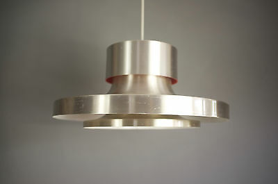 Louis Poulsen style aluminium and red enamelled three tier ceiling light 70s