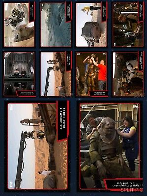 Topps Star Wars Card Trader Red Set Force Awakens Behind the Scenes 11 Cards