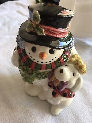 fitz and floyd Christmas Snowman/puppy Candy Or Cookie Jar