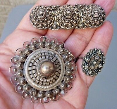 Antique French Indochina Silver Art Deco Brooch Pin Ring Lot - 3 Pieces