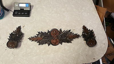 Vintage Antique Curtain Rod Medallion Center Ornate Cast Metal Art Deco Hardware