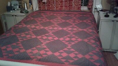 30's Vintage Antique Hand  Stitched Quilt Pattern  ? Brown's and Reds
