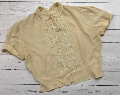 Vintage Women's Small Blouse 40s Cream with Buttons and Pleated Front