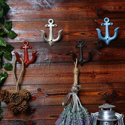 Cast Iron Anchor Shaped Wall Hook Coat Towel Clothes Hanger Holder Red