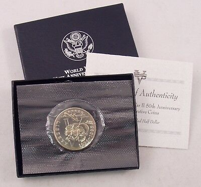 1991-1995 World War II 50th Anniversary UNC Half Dollar Commemorative w/Box COA