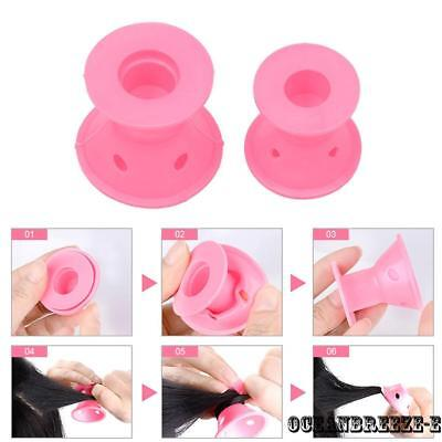 24 Pink Silicone Hair Curlers Rollers Heat Free Hair Styling Curler Gift Home