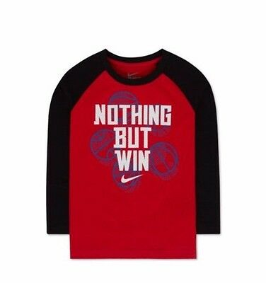 New Nike Boys Long Sleeve Athletic T- Shirt Red Black Size 5