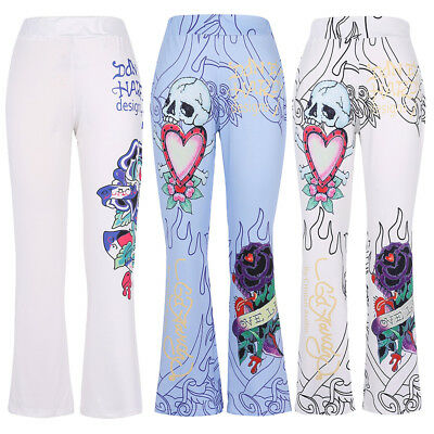 US Plus S-5XL Trouser Women Pant Skull Print Mid Waist Flare PALAZZOS Pants