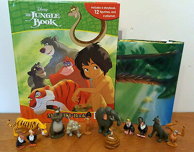 New  Disney Jungle Book My Busy Books With 12 Disney Figurines + Playmat Bnib