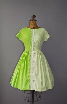 Vintage 1950s Eyelet Cotton Green Dress -Size Small