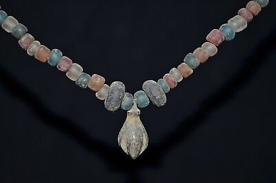 Complete Ancient Viking Necklace of Ancient Glass & Bronze Beads, c 950-1000 AD.