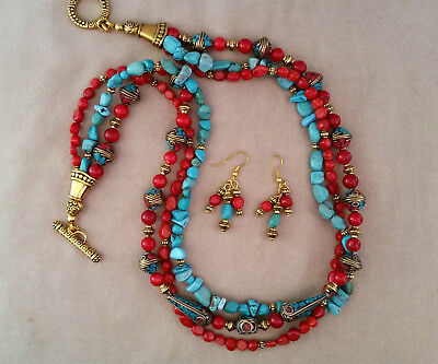"""(215) Handmade Jewelry Set 24"""" Beaded Coral Turquoise 3 Strands"""