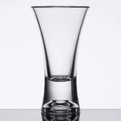 Commercial 2 oz. Polycarbonate Flair Shot Glass Clear with Heavy Base Pack of 24