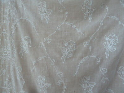 Superb Pair Of Antique French White On White Embroidered Cotton Muslin Curtains