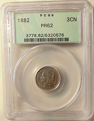 1882 Three Cent Nickel - PCGS PR62 OGH - Very Pretty Choice Proof Coin