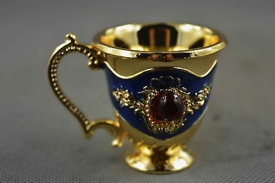 Collectable Handwork Cloisonne Carve Flower Inlay Agate Royal Lucky Wine Cup