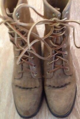 Vtg Justin~Brown Leather Kiltie Lace Up Roper Women's Boots~Sz 6.5 USA