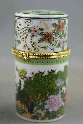 Collectable Handwork Porcelain Paint Beauty Phoenix & Flower Lucky Toothpick Box
