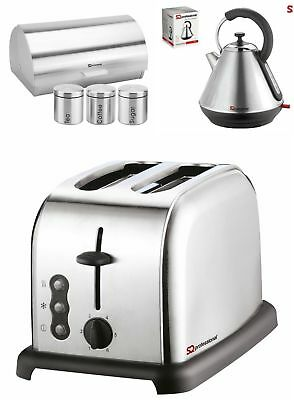6Pc Set of: Toaster, Kettle, Bread bin, 3 Canisters,  Silver