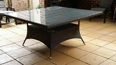 Brand New Wicker Outdoor Dining Tables With Glass Tops