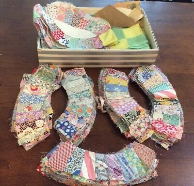 165 Vintage  Lot Quilt Pieces For Wedding Ring Quilt