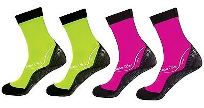 ScubaMax Kids Toddlers Water Sports Traction Soxs - SMALL - 2 NEON YLLW & 2 PINK
