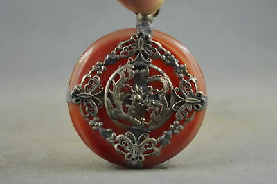 Collectable Handwork Old Jade Armor Miao Silver Carve Dragon & Phoenix Pendant