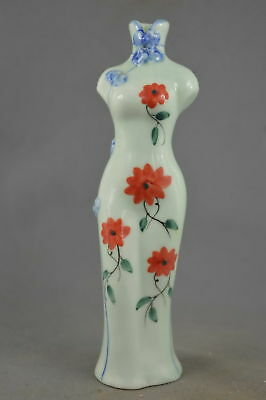 Collectable Decoratibe Handwork Porcelain Paint Flower Auspicious Cheongsam Vase