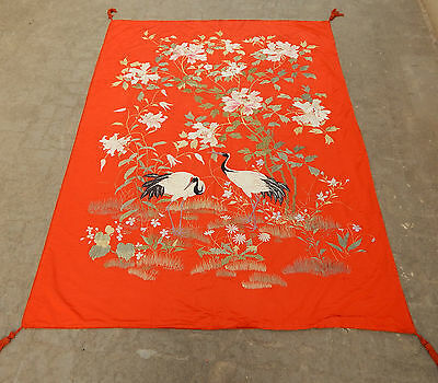 HUGE ANTIQUE BEAUTIFUL CHINESE HAND EMBROIDERED TEXTILE ART PANEL 176X233cm
