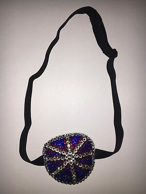 Black Soft Eye Patch Medical Concave Adult Fancy Bedazzled Crystals UK Flag