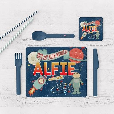 Personalised Space Placemat & Coaster Set Glossy,wood Placemat & Coaster Set