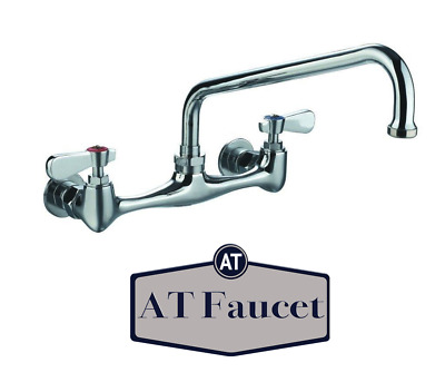 """AT Faucet Commercial 8"""" Center Wall-Mount Faucet 6"""" Spout NSF Certified"""