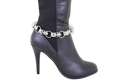 Cute Women Silver Metal Chain Boot Bracelet Bling Shoe Anklet Charm Love Heart