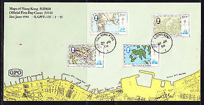 Hong Kong 1984 Maps First Day Cover. - Unaddressed