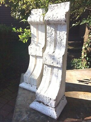 Pair Of Large Vintage Architectural Chippy White Corbels Wood Salvage Brackets