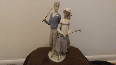 """Vintage Lladro """"Golfing Couple"""" # 1453 Figurine WITH BOX MINT Made in Spain"""
