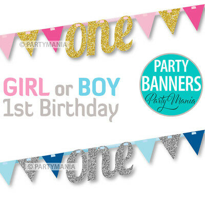 1St First Birthday Boy Girl Party Supplies Decorations One Glitter Banner