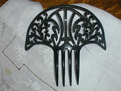 Antique Victorian Hair Comb~Celluloid, Set with Black Stones 'Besthold' 5&1/2""