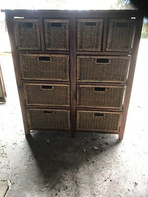 Cane & Wooden Chest Of Drawers