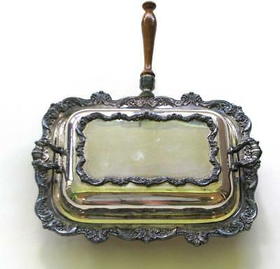 Vintage POOLE EPCA Silver 5020 OLD ENGLISH Rectangle Chafing Dish Server w Lid