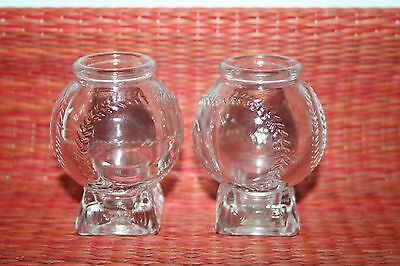 2 Vintage Shot Glasses JIM BEAM Advertising MVP Baseball Shot Glasses