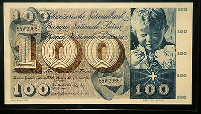 Switzerland 100 Francs 1967 (Au-Unc) Lot #1
