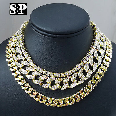 "Hip Hop Quavo Choker 20"" Cuban & 18"" Full Iced Cuban & 1 ROW DIAMOND CHAIN SET"