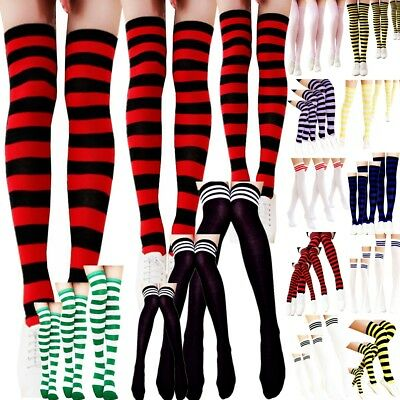 3 Lot Men Women Sport Athletic Soccer Stripe Socks Over Knee Thigh High Stocking
